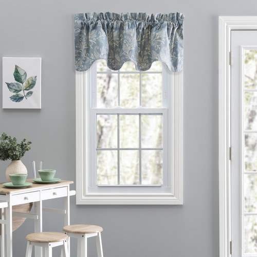 Lexington Leaf- Scallop Valance in Blue