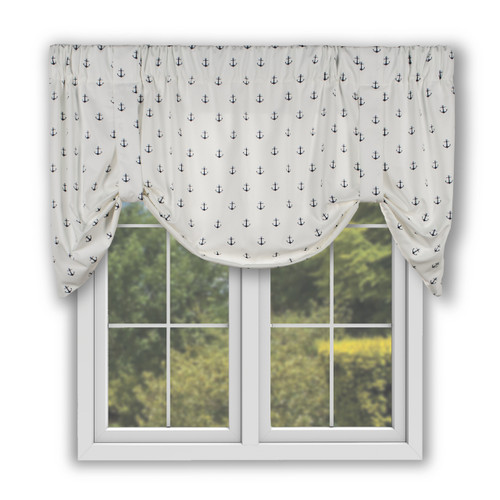 Voyage  Tie Up Valance in Navy