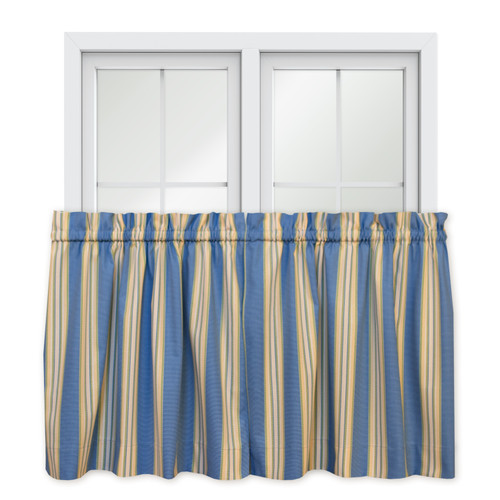 "Lisa Stripe Tailored Tier Pair - 36"" Length in Blue"