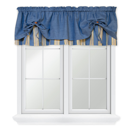 Lisa Stripe Versa-Ties Valance in Blue