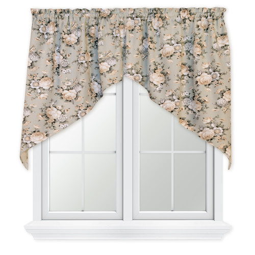 Bella Rose 2 Piece Tailored Swag Valance in Mist