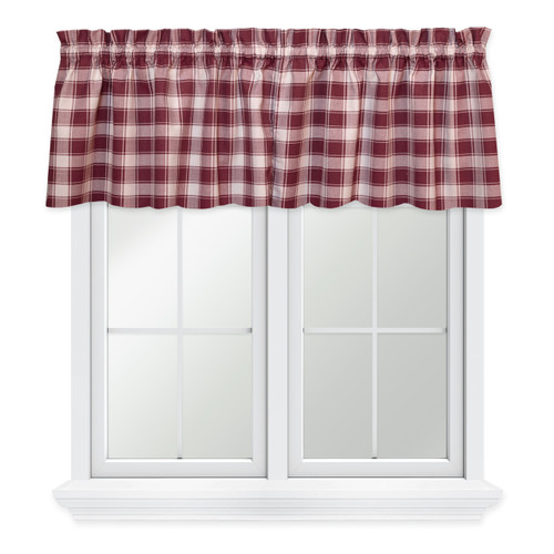 Country Check Tailored Valance in Brick