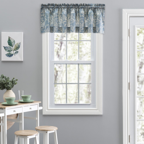 Lexington Leaf- Tailored Valance in Blue