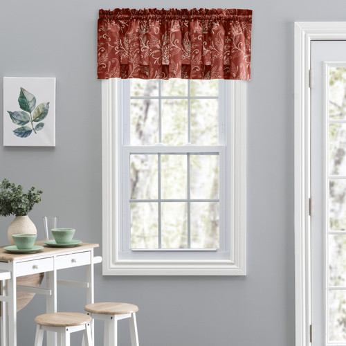 Lexington Leaf- Tailored Valance in Brick