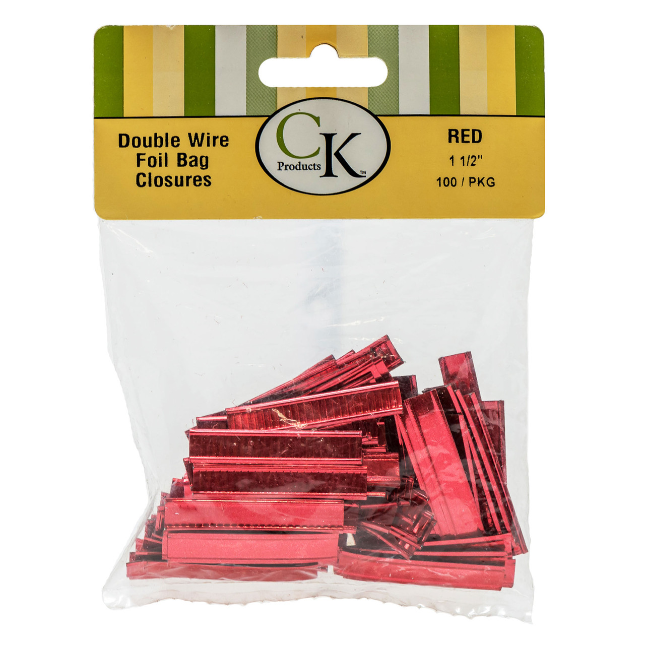 Red folded bag closures