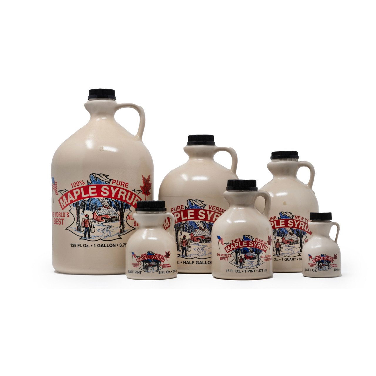 Plastic jugs for maple syrup.
