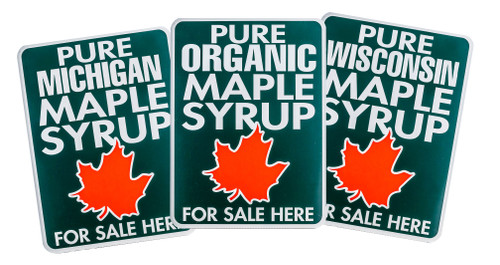 Painted metal maple syrup for sale signs