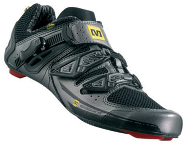 Extremely comfortable, good fitting, stiff, well-ventilated and lightweight, these race-ready road bike shoes are all about pro-level performance.  Energy Full Carbon outsole is extremely lightweight, stiff, thin (5.5mm) and uses a low stack height to give you optimal power transfer Synthetic and mesh upper is durable, breathable and easy to clean Ergo Fit 2D molded insole uses a high density heel cradle to keep your foot in place Agion treatment reduces bacteria and odors Energy Wedge 3D heel counter puts you in the right position for maximum efficiency Integrated toe cap protects you from bumps and scrapes Clima Vent Tongue with 3D EVA comfort insert, mesh and synthetic microfiber enhance moisture management and comfort Ergo Strap Custom lets you customize the main strap length based on your individual foot shape and preference Ergo Lite ratchet (2 positions) and 2 adjustable Velcro straps (Kevlar cables with hook-and-loop fasteners) allow for better ventilation and a perfect fit Includes recommended length screws for outsole