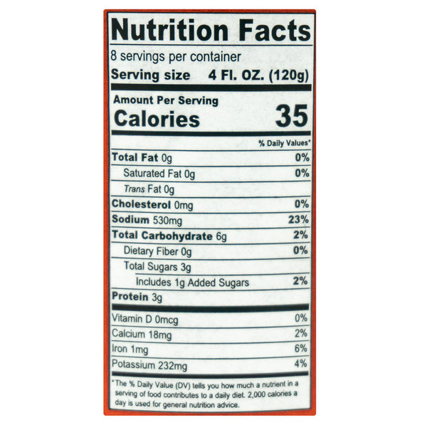 Serious Mary Mix Nutritional Label