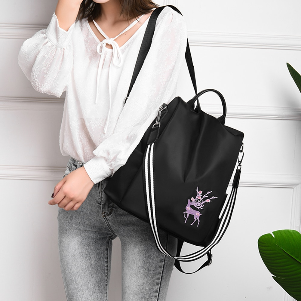 Details about  /Oxford Women New Backpack Embroidery Print School Shoulder Bags Anti-theft