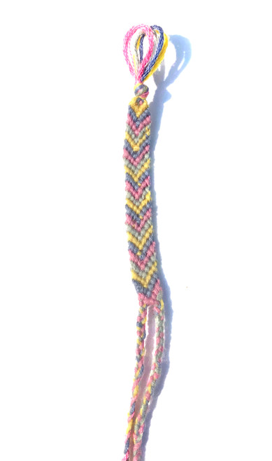 Yellow, Blue, and Pink Chevron friendship bracelet