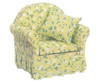 Dollhouse City - Dollhouse Miniatures Chair with Green Floral Fabric