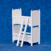 Dollhouse City - Dollhouse Miniatures Bunk Bed with Ladder - White