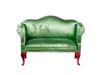 Queen Anne Loveseat - Green Brocade