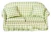 Sofa with Pillows - Green - White