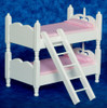 Bunk Bed with Ladder - Pink and White