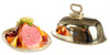 Ham and Fruits on Metal Tray