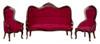Victorian Living Room Set - Red Velvet and Mahogany