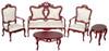 Dollhouse City - Dollhouse Miniatures Fancy Victorian Living Room Set - Mahogany