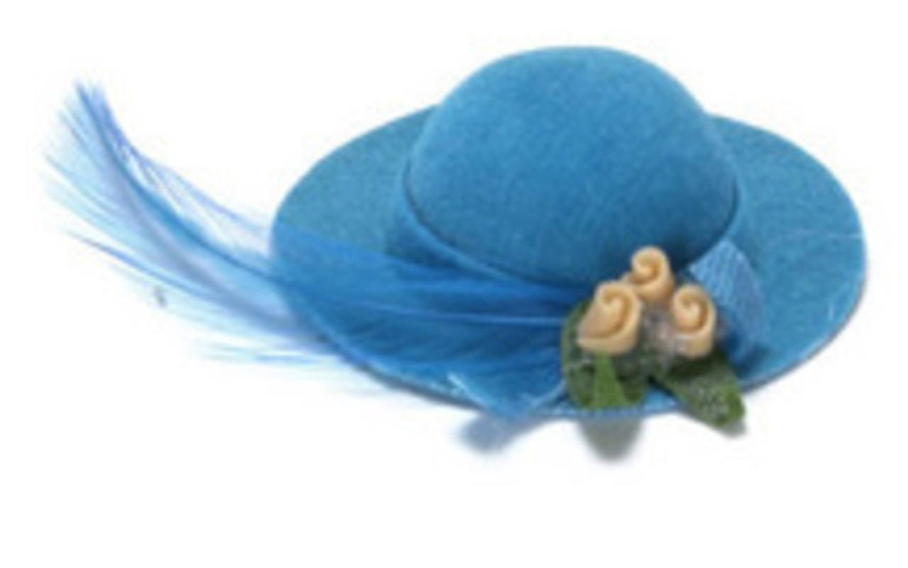 Lady's Hat with Feather - Blue