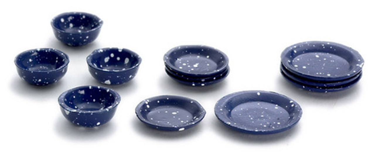 Dollhouse City - Dollhouse Miniatures Dishes Set - Blue Spatter