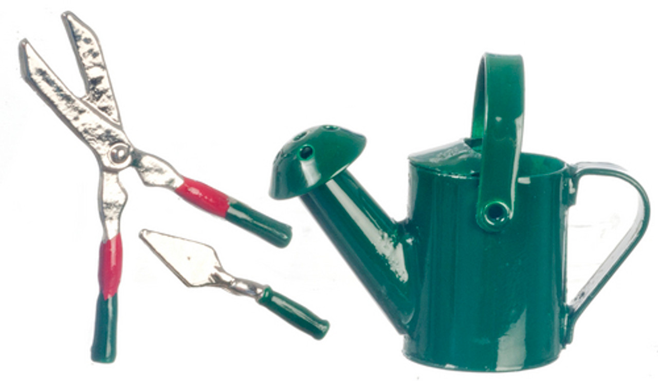 Green Water Can and Garden Tools Set