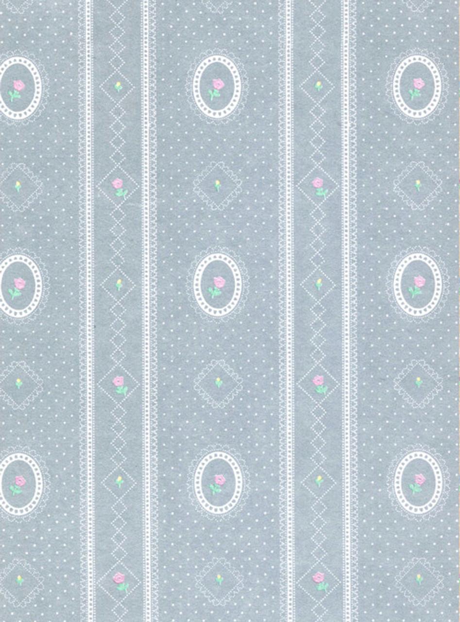 Wallpaper Cameo Stripe Reverse Set - Blue