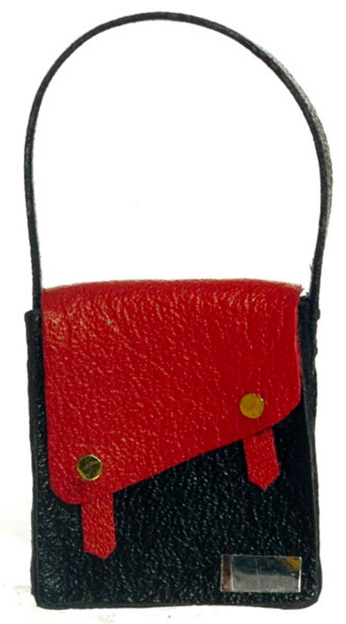 Dollhouse City - Dollhouse Miniatures Lady's Handbag  - Red and Black