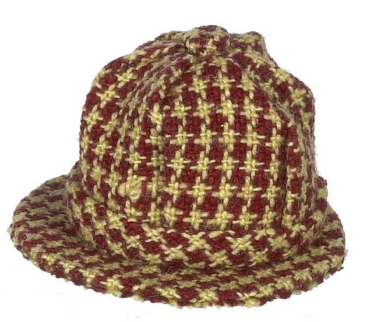 Dollhouse City - Dollhouse Miniatures Mens Hat - Checkered Red