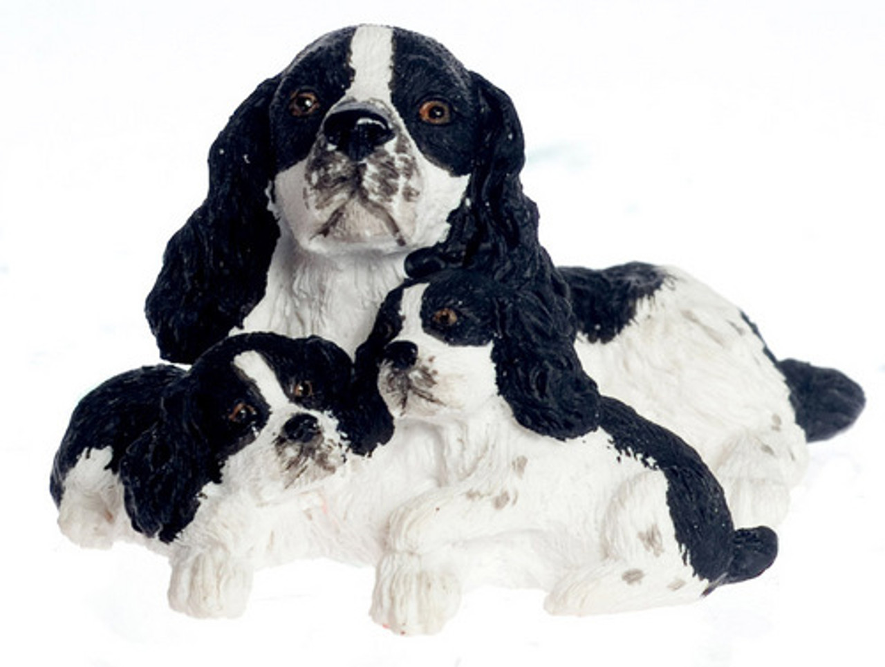 Dollhouse City - Dollhouse Miniatures English Springer Spaniel with Puppy - Black
