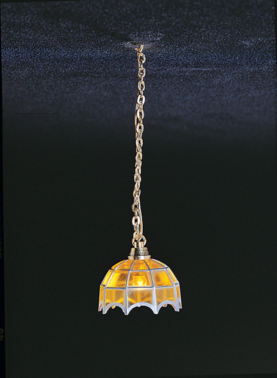 Dollhouse City - Dollhouse Miniatures Tiffany Hanging Lamp - Amber