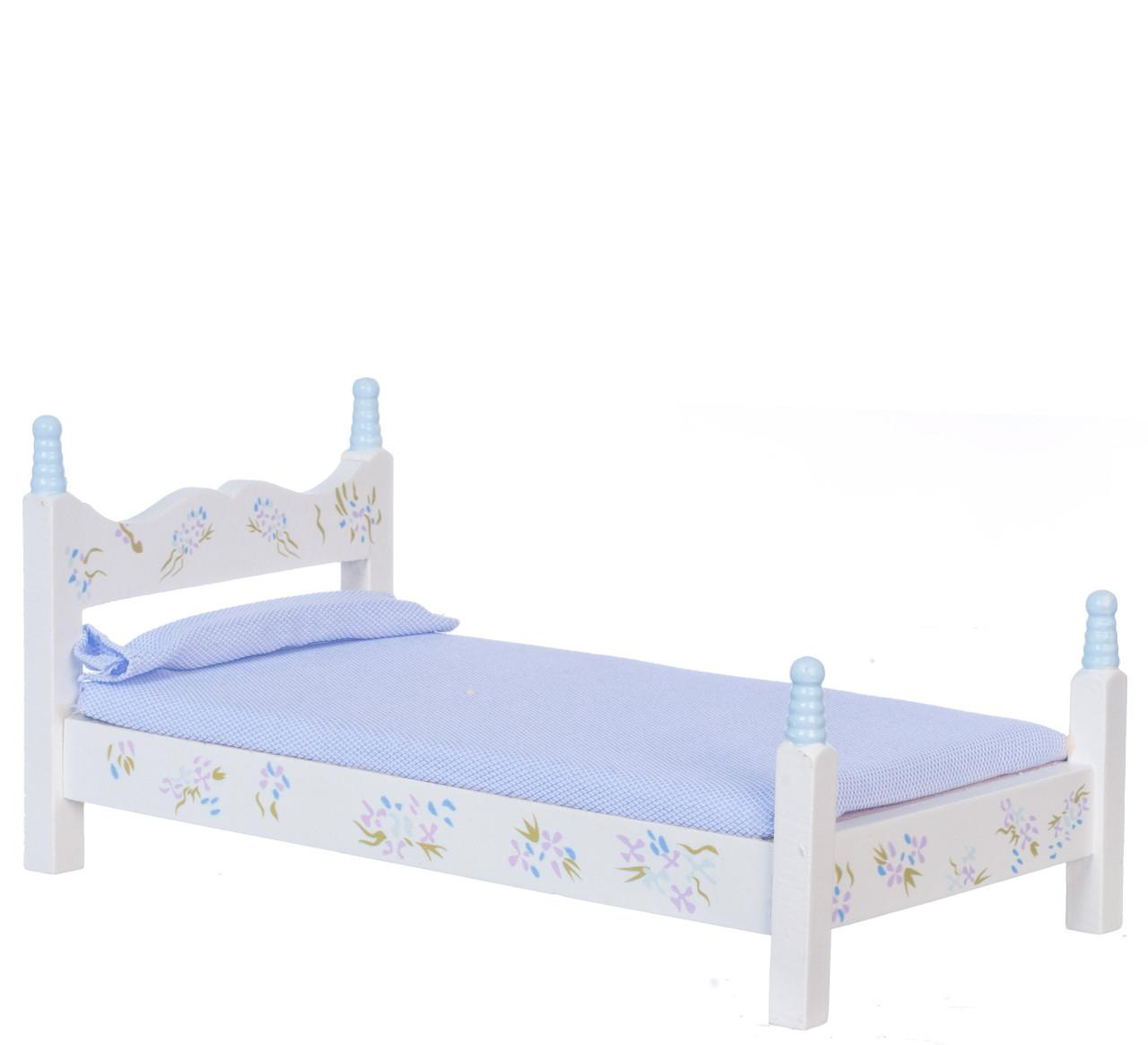 Dollhouse City - Dollhouse Miniatures Blue Single Bed