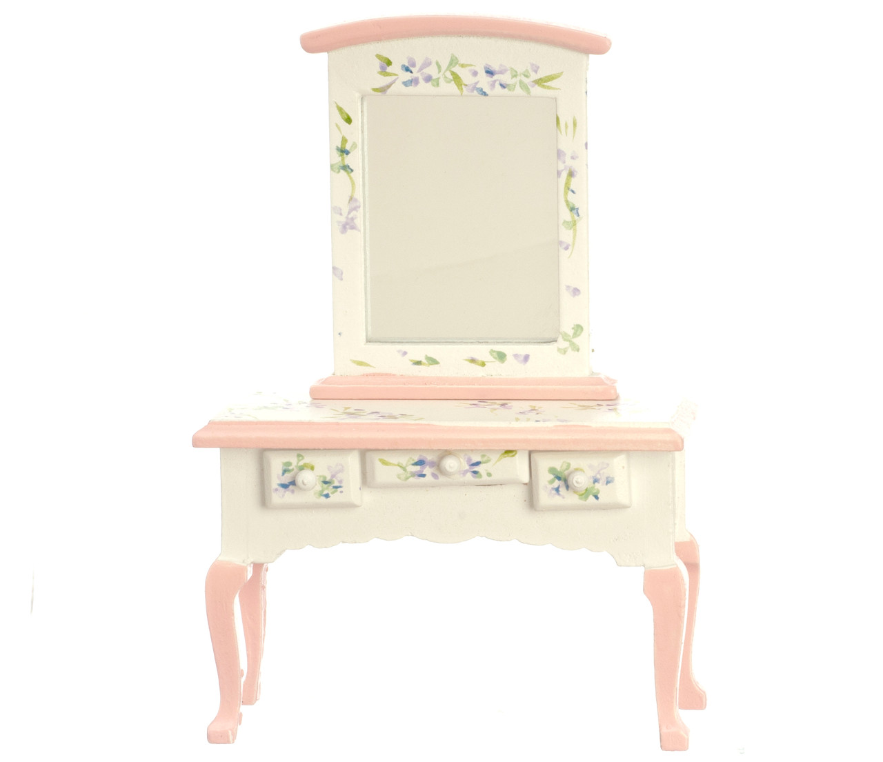 Dollhouse City - Dollhouse Miniatures Pink Vanity with Mirror
