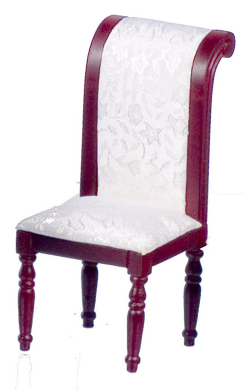 Dollhouse City - Dollhouse Miniatures Side Chair With White Fabric - Mahogany