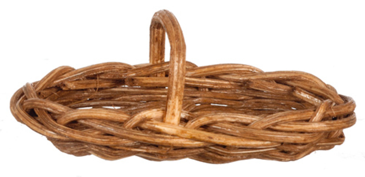 Dollhouse City - Dollhouse Miniatures Long Oval Basket Set - Brown