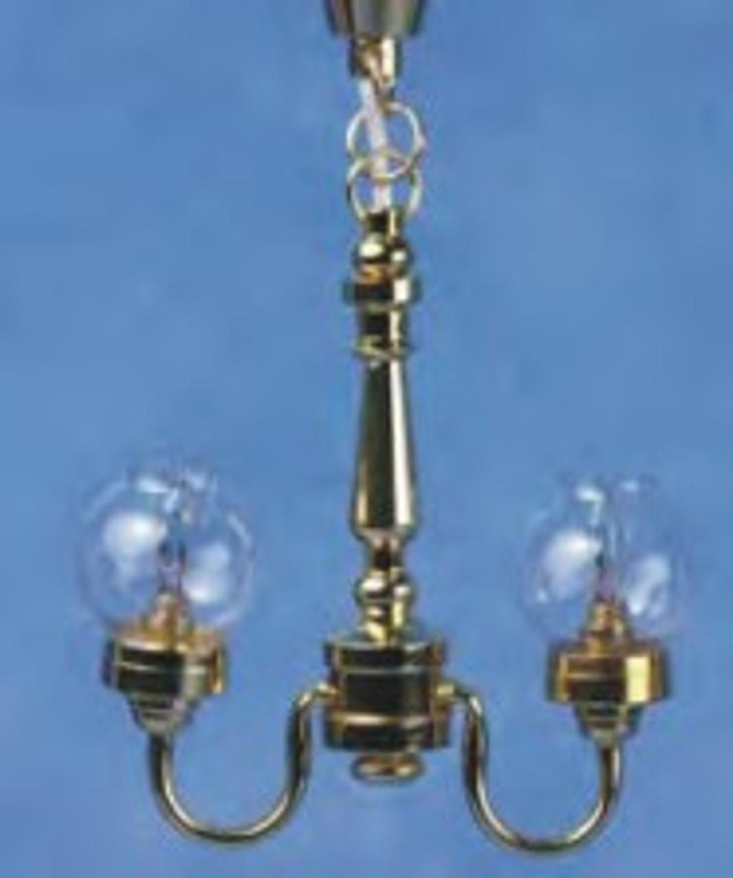 2-Lite Chandelier - Clear Globe