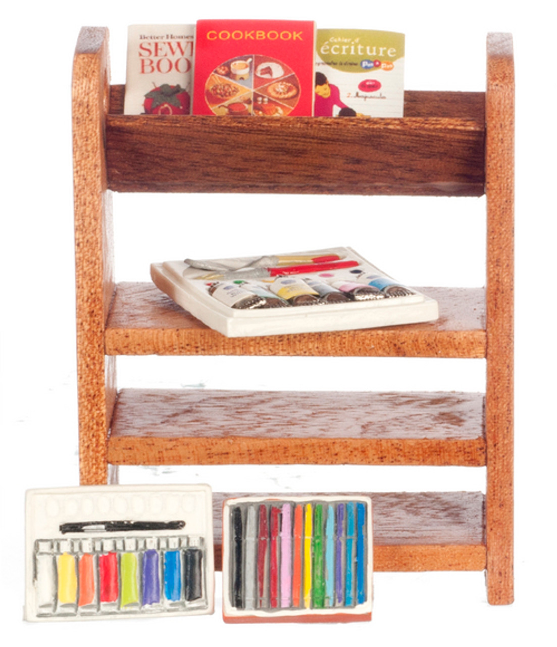 Small Bookshelf with Books and Paint Set