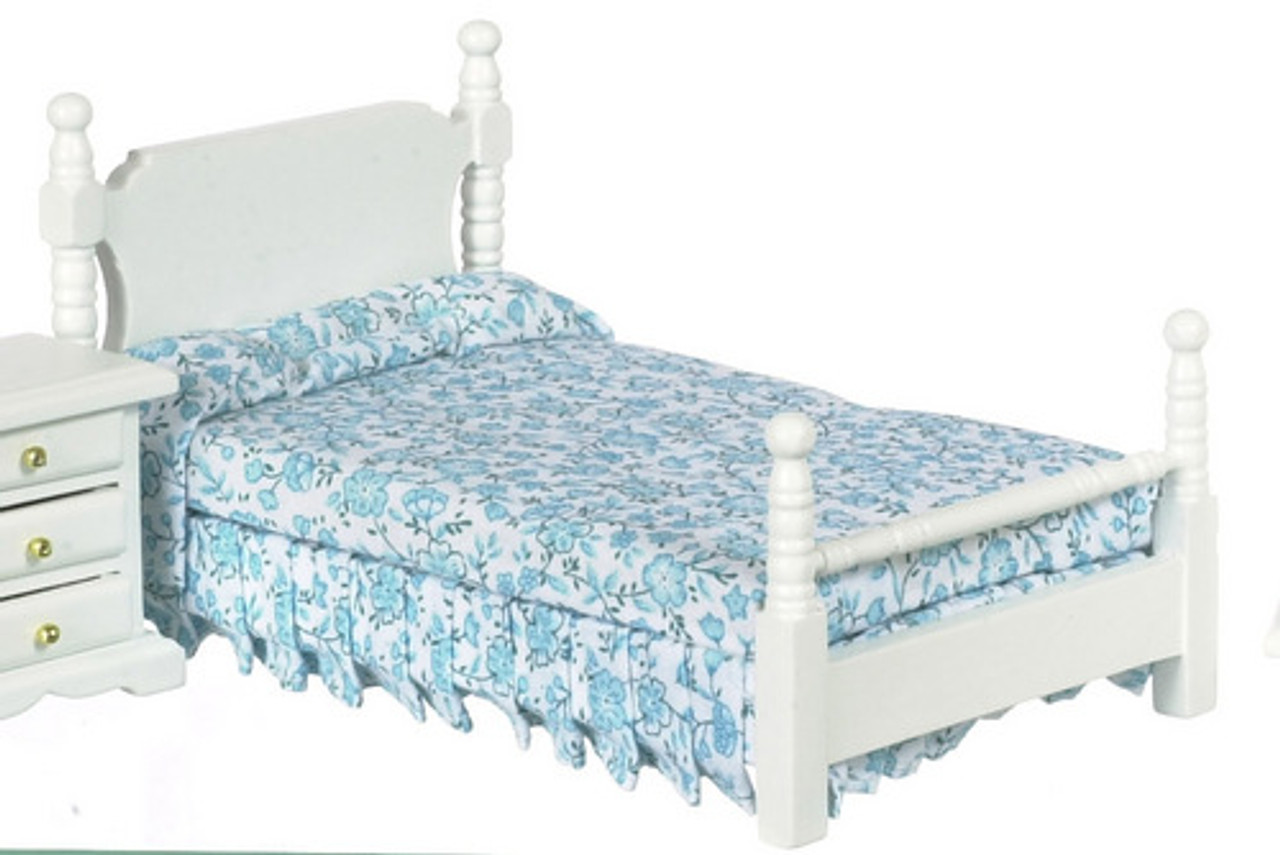 Single Bed - Blue Floral and White