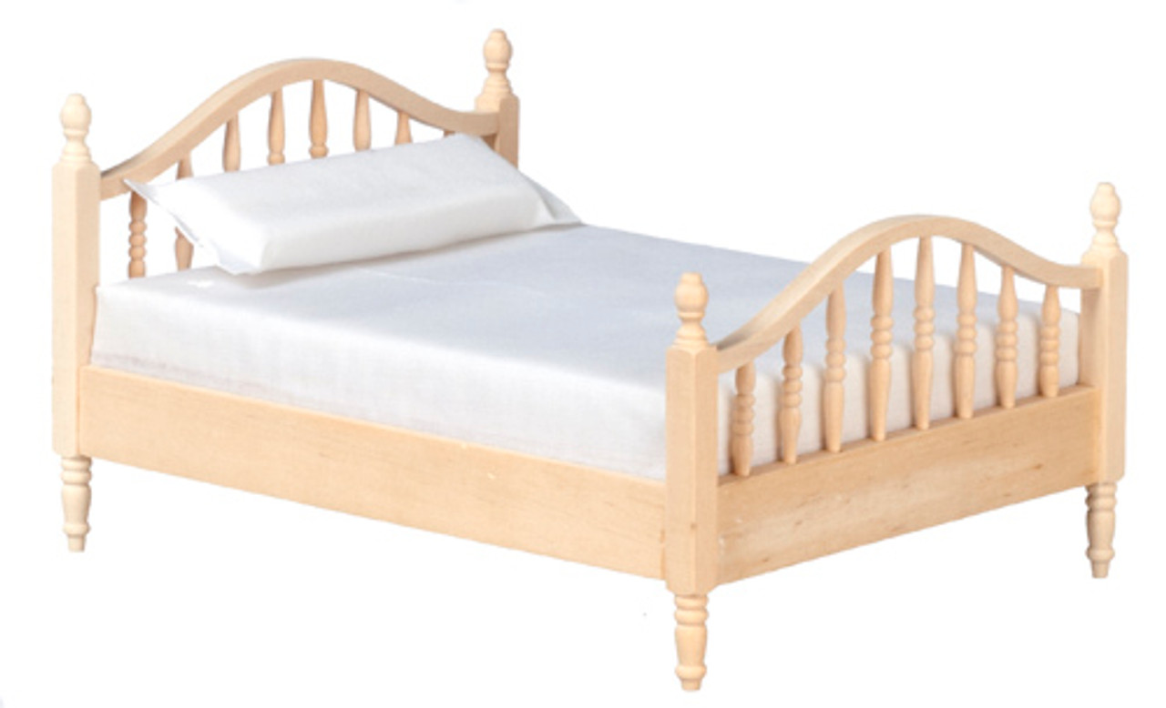Dollhouse City - Dollhouse Miniatures Double Bed - Unfinished