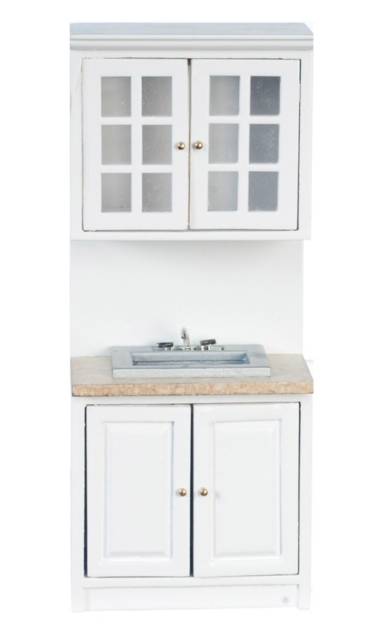 Cabinet with Sink - White and Marble