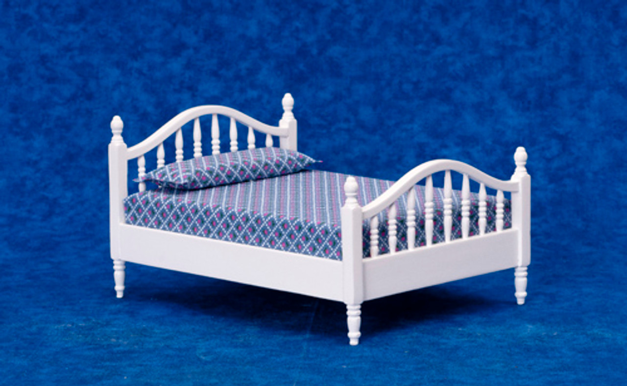 Dollhouse City - Dollhouse Miniatures Double Bed - White