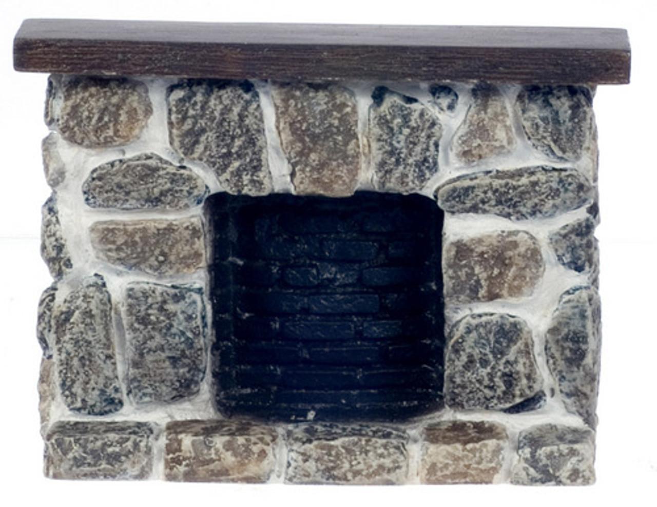 Fieldstone Fireplace - Gray