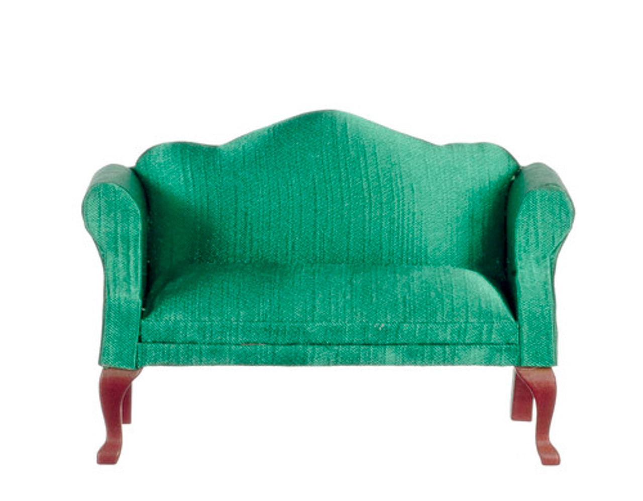 Queen Anne Loveseat - Green and Mahogany