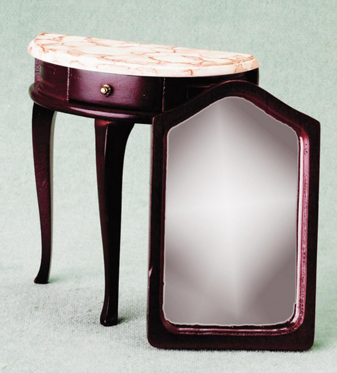 Demi Table with Mirror - Mahogany