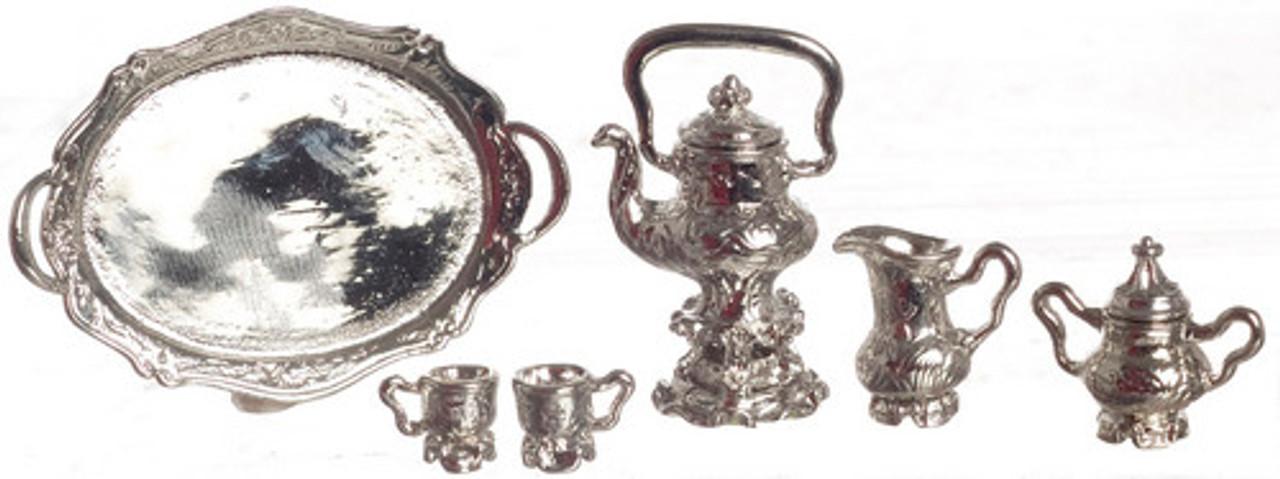 Dollhouse City - Dollhouse Miniatures Coffee Set - Silver