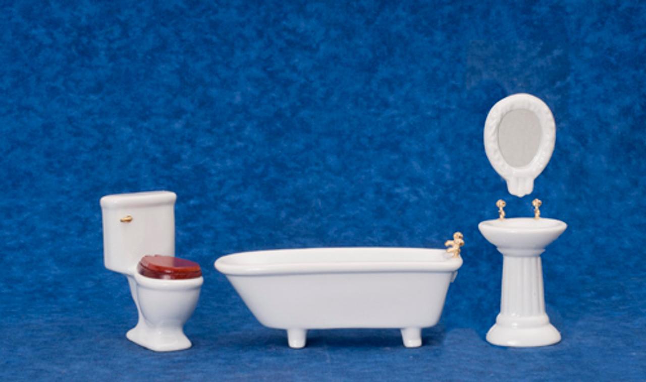 Dollhouse City - Dollhouse Miniatures Art Deco Bath - White