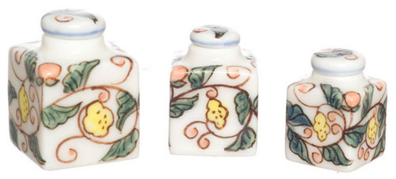 Dollhouse City - Dollhouse Miniatures Handpainted Square Canister