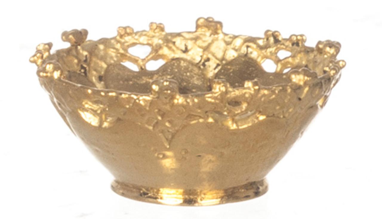 Dollhouse City - Dollhouse Miniatures Round Basket - Gold
