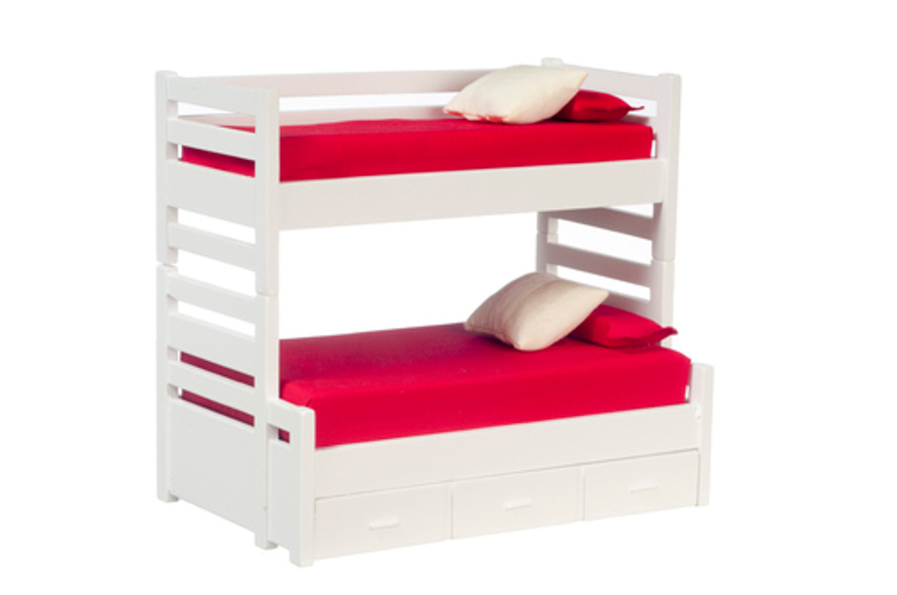 Bunk Bed with Trundle - White
