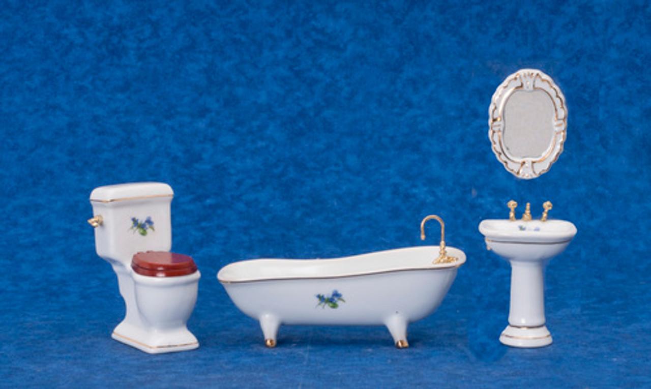 Porcelain Bath Set - White Flower
